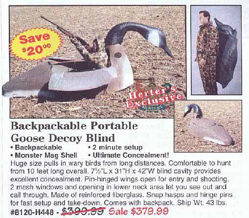 Backpackable Portable Goose Decoy Blind